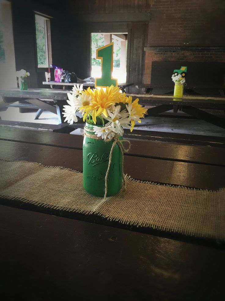 John Deere party birthday Centerpieces. Mason jar flowers