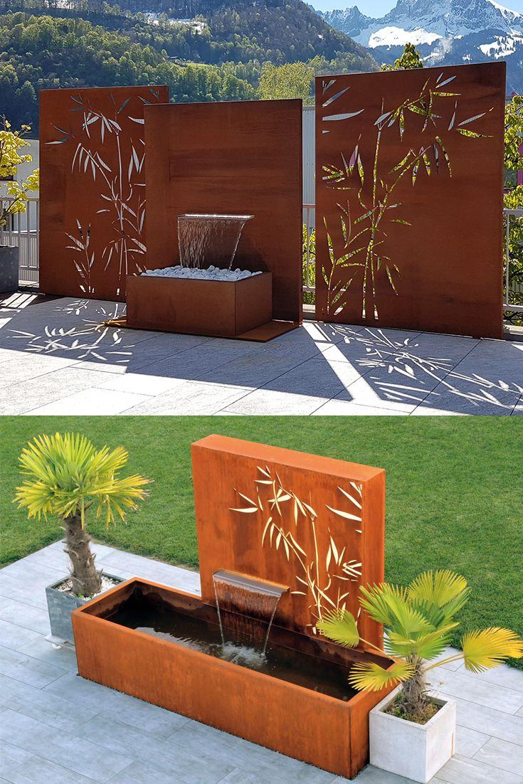 Wasserobjekte Aus Cortenstahl Sichtschutzwand Garten Gartendesign Ideen Sichtschutz Garten