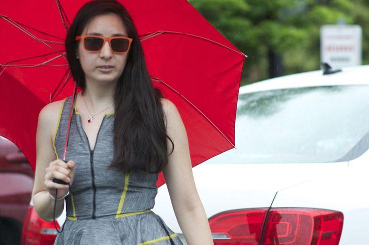 #CheapMonday #sunglasses #Evenw/rain #fashion #girl #outdoor #Model #Umbrella #Dress #OrangeGlasses #Eyewear