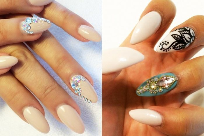 cream colored oval nails, decorated with iridescent, silver rhinestone decals, next image shows white, and turquoise manicure, with black details, and sparkly gem stickers