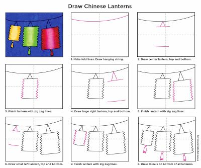 Art Projects for Kids: How to Draw Chinese Lanterns. A print friendly PDF is included. #artprojectsforkids