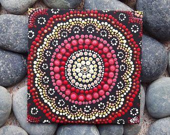 """Pittura di arte aborigena Dot, Fire Design, da Biripi artista Rossella Saunders, 4 """"x 4"""" tela arredamento di bordo, vernice acrilica, boho, arte di ombre"""