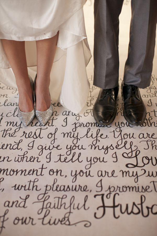 metallic urban wedding inspiration, silver glitter heels, calligraphy vows