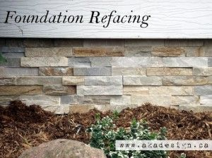 How to Improve Your Home's Curb Appeal - tutorial shows how to reface your home's foundation with Ledgestone - via akadesign