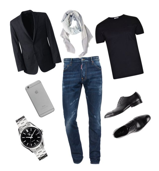 """""""#FashionMale! #Casual #Chic"""" by kareenleon on Polyvore featuring Dsquared2, Lands' End, L(!)W Brand, TAG Heuer, Ciro Lendini, Native Union, MANGO MAN, men's fashion and menswear"""