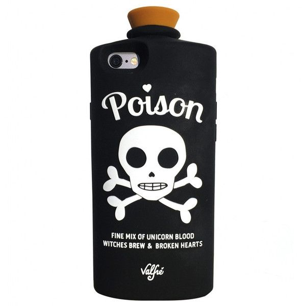 Valfrè Poison 3D Silicone iPhone Case in Black ($48) ❤ liked on Polyvore featuring accessories, tech accessories, iphone silicone case and silicon iphone case