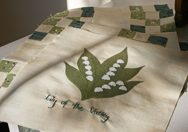 Janet Clare WIldflower Quilt - Lily of the valley block