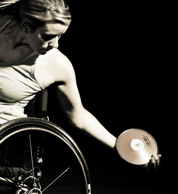 Portrait in The Telegraph by Richard Booth of British paralympic athlete Josie Pearson.  Josie Pearson competed in Beijing 2008 on the G.B. wheelchair rugby team.  For London 2012 she's competing in track and field, or as it's officially titled, Athletics.