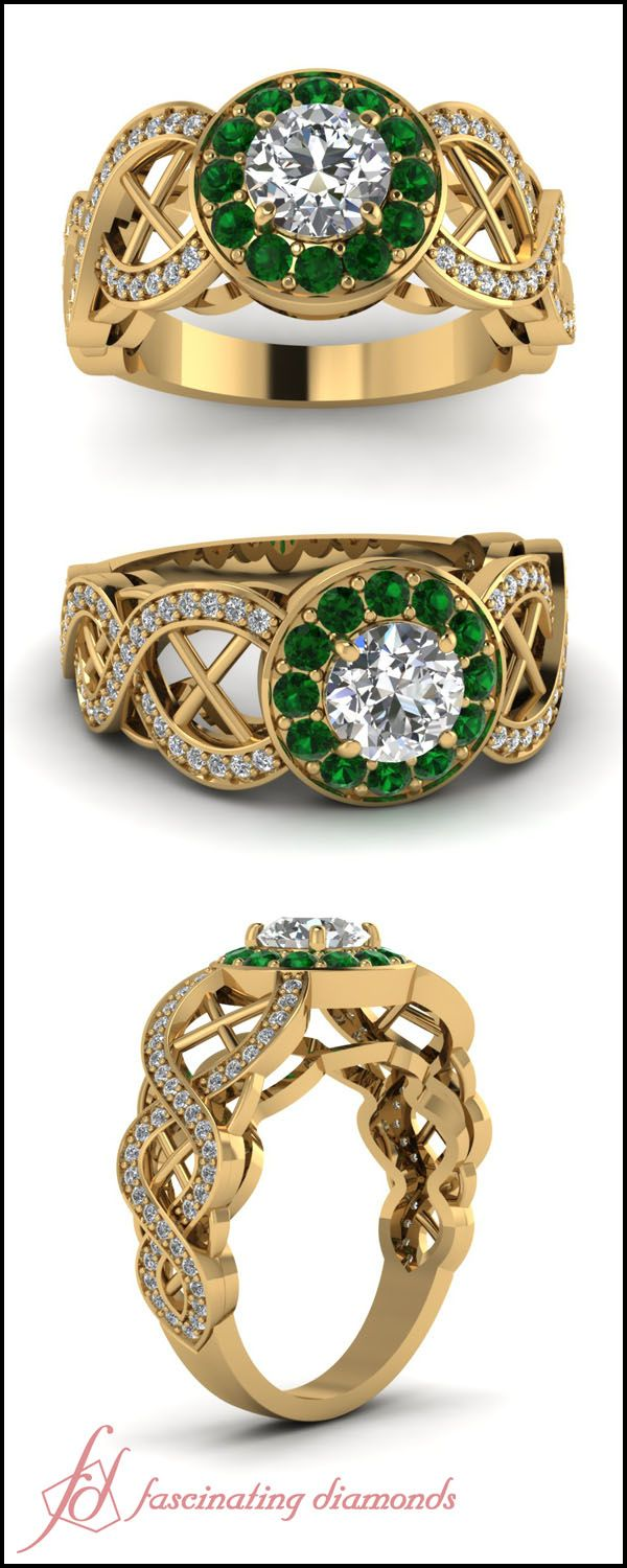 Round Cut Diamond and Emerald 14K Yellow Gold Halo Engagement Ring In Pave Setting || Chiseled Cross Ring