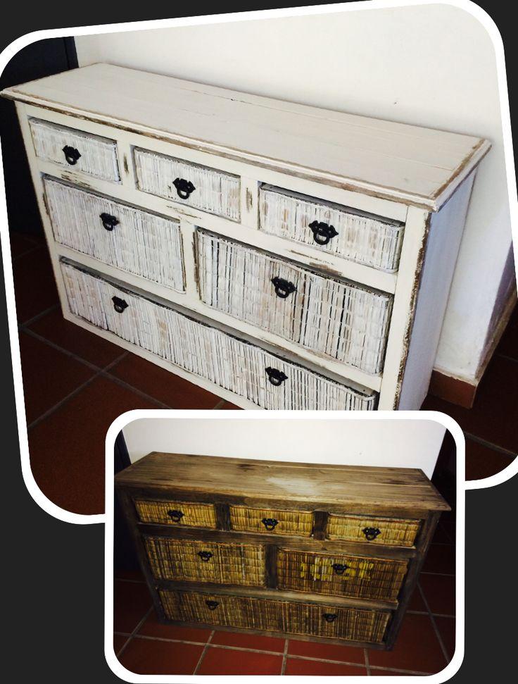 Mueble de madera con cajones de juncos Técnicas de trapeado y