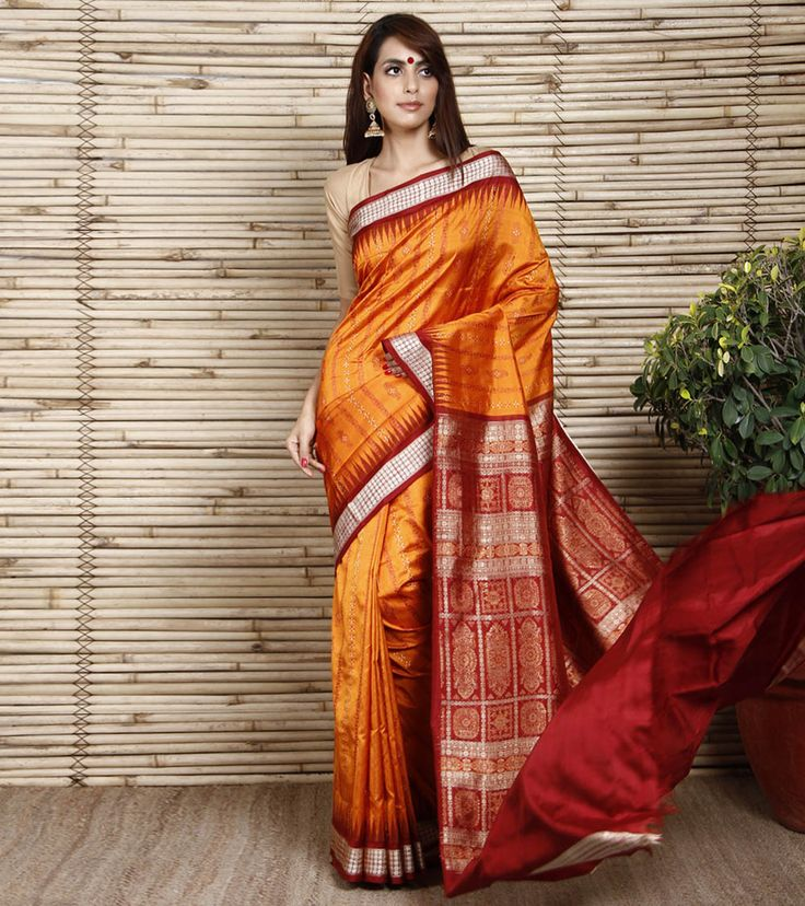 Orange Sambalpuri Silk Saree with Panelled Design