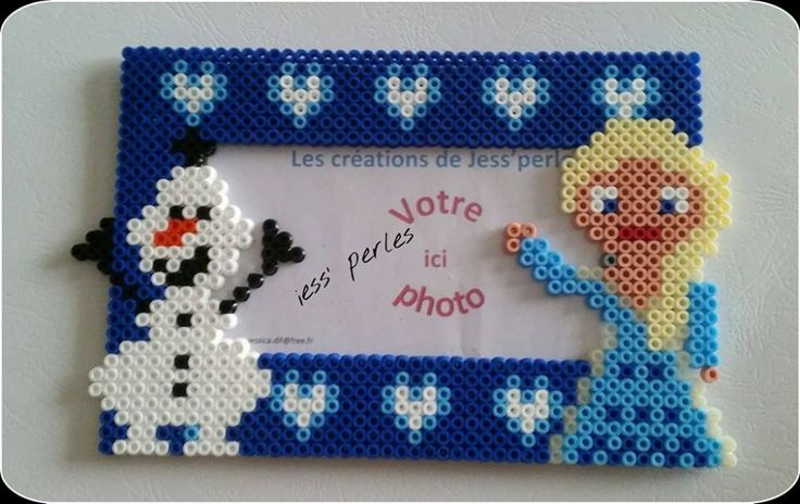 Frozen picture frame hama beads by jess'perles