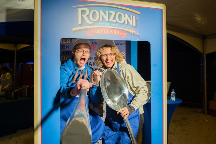 Ronzoni at the Al Fresco Feast @ South Beach Food & Wine Festival 2015: An oversize Ronzoni pasta box was a popular photo set, encouraging guests at the Al Fresco Feast to pose with large utensils.