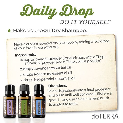 doTERRA for 'DIY Dry Shampoo' Here's a quick video and great essential oil usage tip I thought you would be interested in. https://doterra.com/US/en/dailydrop/spa/05  To get daily videos and tips just like this one, download the daily drop app here. https://doterra.com/US/en/university/living/daily-drop