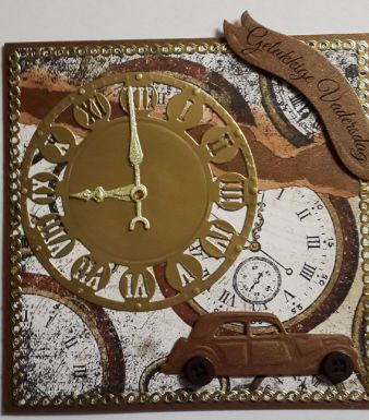 006_A5_S14_Clock and Vintage Car with Sentiment. Handmade by Diane Prinsloo (Lubbe).