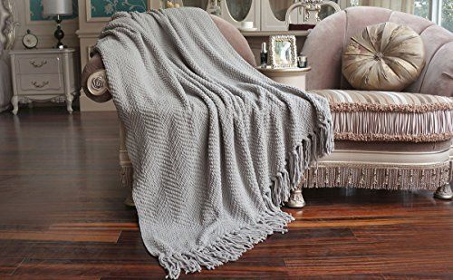 """Knitted Tweed Throw Couch Cover Blanket, 50 by 60"""", Silver"""