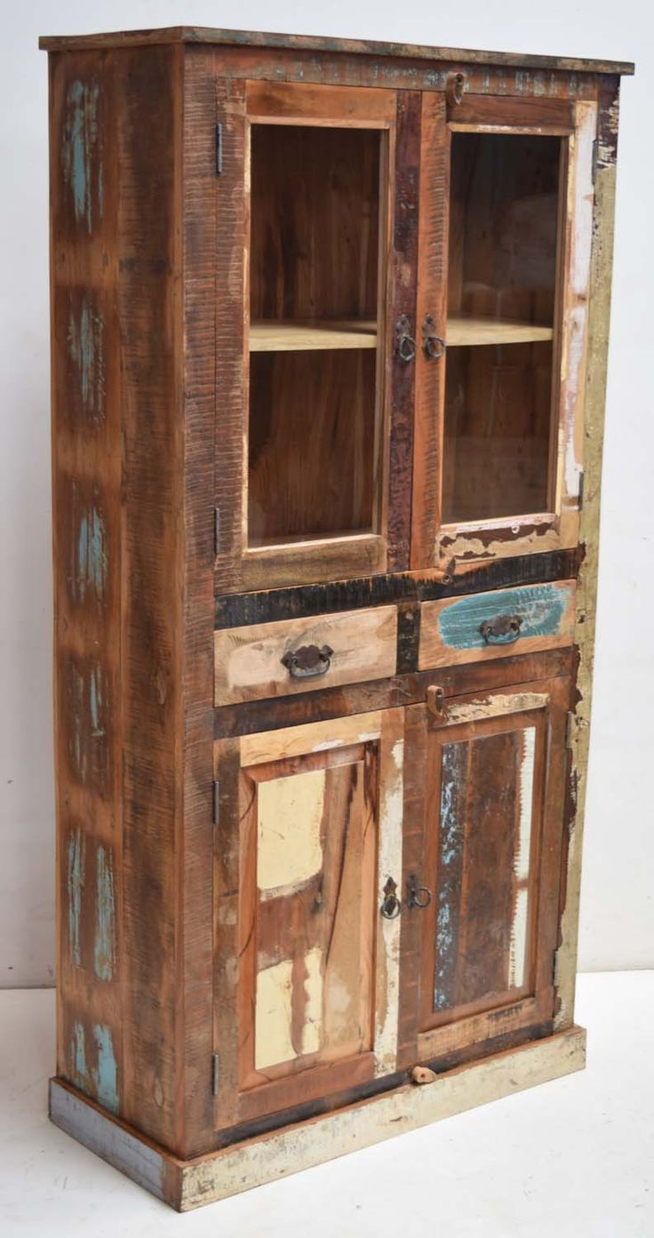 Delightful Recycled Wood Display Cabinet With Drawer Storage. Unique Old Scrap Wood  Furniture