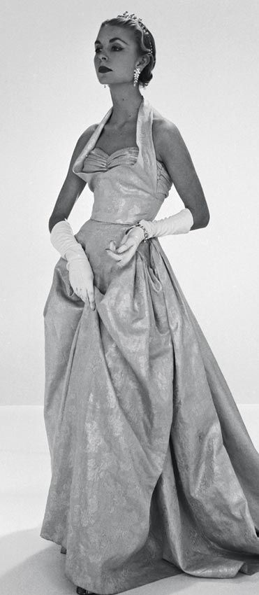 Evening dress by John Cavanagh. London, 1953 spring/summer Coronation collection.   Photograph by John French.