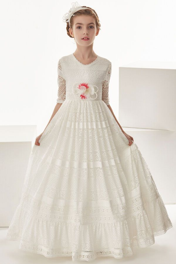 Short 3/4 Sleeve Lace Floor Length Communion Dress