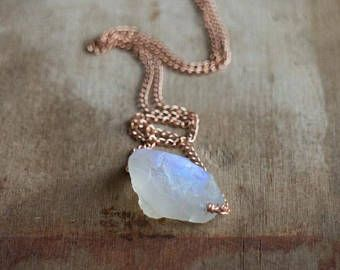 Raw Moonstone Necklace, June Birthstone, Raw Crystal Necklace in Rose Gold Filled, Gold or Silver, Rainbow Moonstone Jewellery