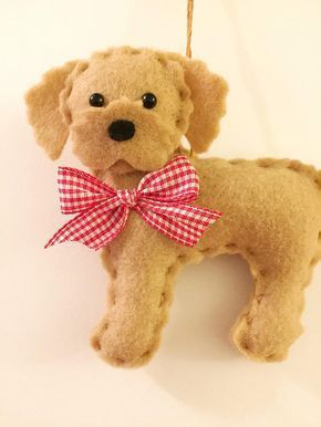 This is a felt labradoodle ornament. This ornament makes a great gift for someone who loves labradoodles. He is designed and handmade by me! He is 4 1/2 inches tall and lightly stuffed. Find more cute felt ornaments here https://www.etsy.com/shop/BeckyLynnCreations?ref=hdr_shop_menu&section_id=16548535 --- Personalize --- For an additional fee I can personalize this ornament for someone special! I can personalize with a name or anything youd like. The ... #feltornaments