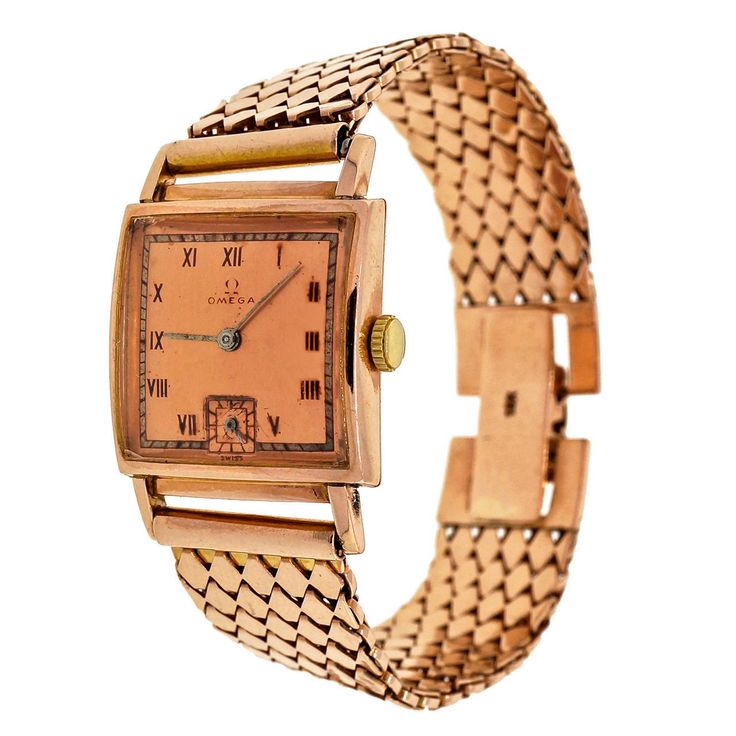 Omega Rose Gold Square Wristwatch circa 1940s | From a unique collection of vintage wrist watches at https://www.1stdibs.com/jewelry/watches/wrist-watches/