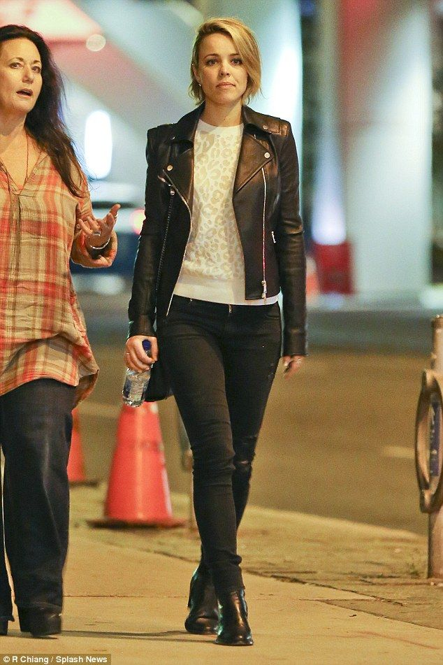 Sexy lady: Rachel McAdams donned a sexy leather jacket and denim look for a night out in Toronto, Canada, over the weekend