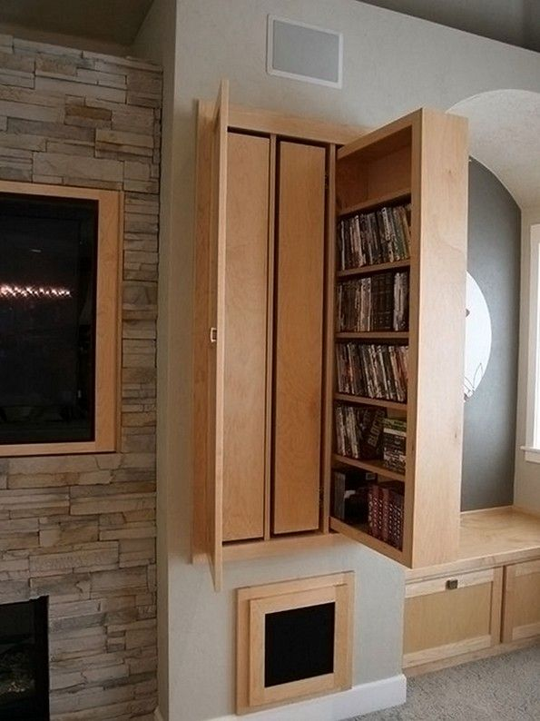 Hidden DVD Storage Ideas: Slide Out Tall Drawers On Casters, Side By Side.