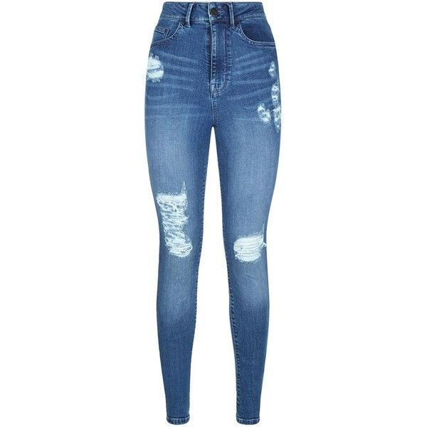Waven High Rise Ripped Skinny Jeans (£52) ❤ liked on Polyvore featuring jeans, pants, bottoms, calças, pantalones, super high-waisted skinny jeans, high waisted ripped skinny jeans, blue jeans, high waisted ripped jeans and stretch skinny jeans