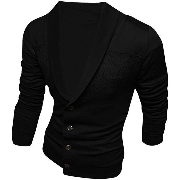 Men Shawl Collar Single Four Buttons Knitted Patchwork Cardigan (116700 IQD) ❤ liked on Polyvore featuring men's fashion, men's clothing, men's sweaters, mens sweaters, mens cardigan sweaters, mens shawl collar cardigan sweater and mens shawl collar sweater