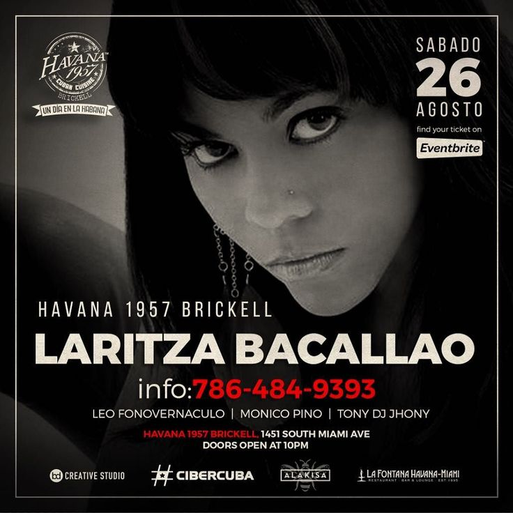 @laritzabacallao at @havana1957 #brickell sábado 26 agosto. Invitado especial @leofonovernaculo prestación @monicopino. Thanks to @lafontanahavanamiamiofficial @cibercuba_oficial @ifaalakisa tickets on @eventbrite