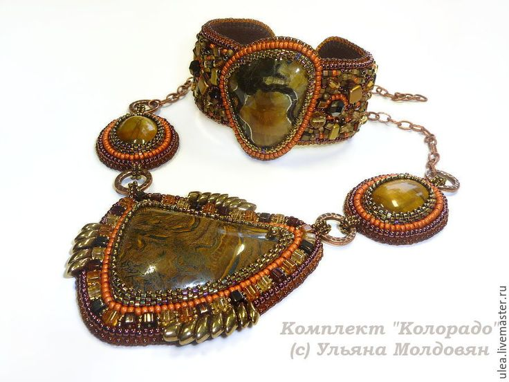 "Jewelry set ""Colorado"". Necklace and bracelet with natural stones - simbirtsit and tiger eye. Beadwork by Ulyana Moldovyan. Beaded jewelry"