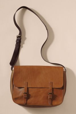 Women's Vintage Leather Messenger Bag from Lands' End Canvas