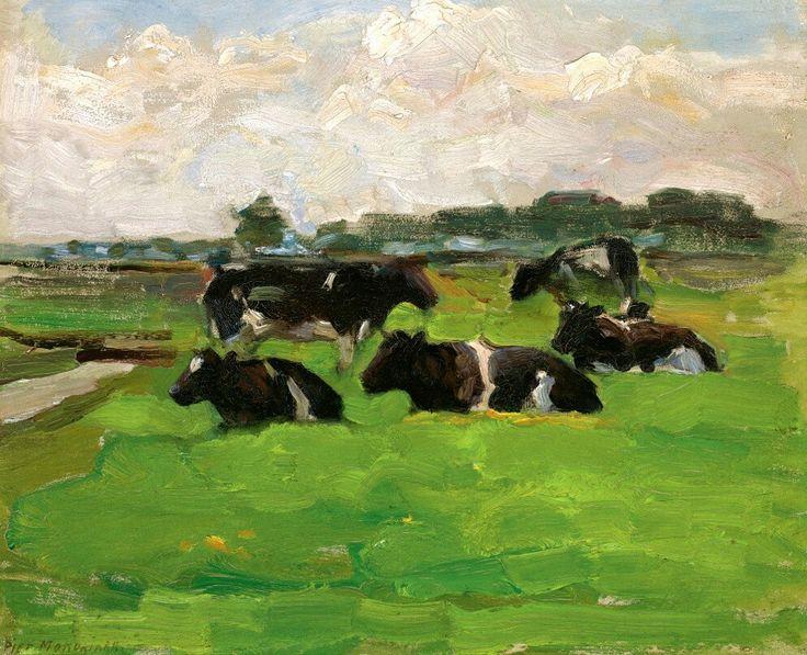 Piet Mondrian 1872 - 1944 Polder Landscape With Group Of Five Cows