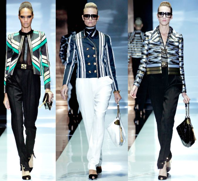 Gucci Spring Summer 2012 – The art deco aesthetics and the architecture of historic skyscrapers of New York are reproduced on the lamé flapper dress of the jazz era. The geometric patterns of short jackets are matched with the black and gold military uniforms or the evening gowns featured by long fringes reminding to some photos of Peggy Guggenheim.