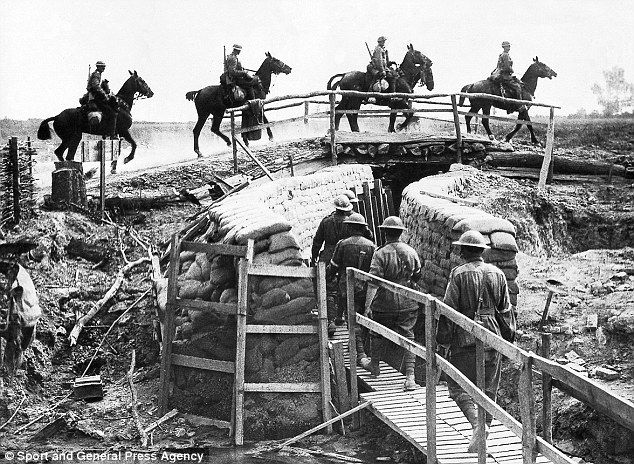 British cavalry crossing a trench bridge in France WWI