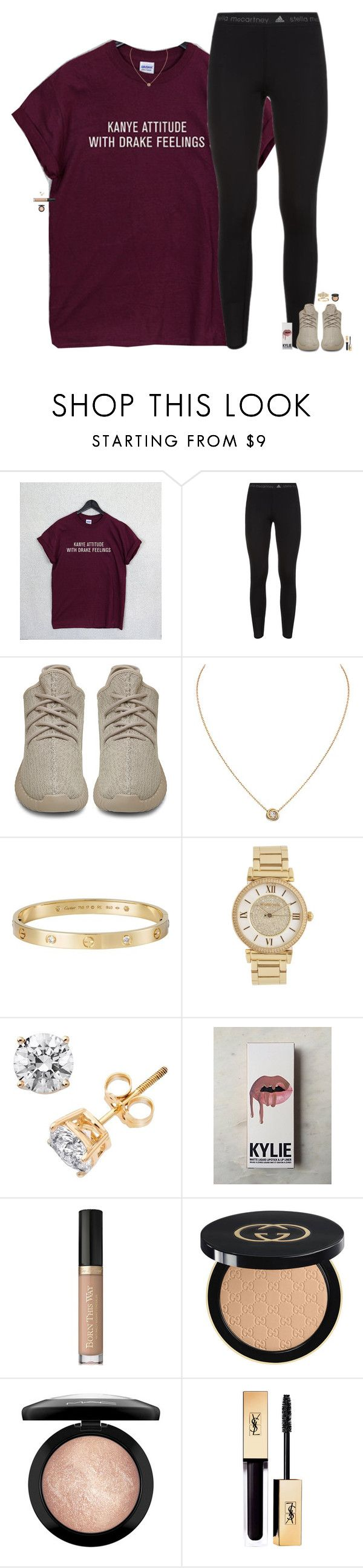 """""""first football game tomorrow."""" by maggie-prep ❤ liked on Polyvore featuring adidas, adidas Originals, Cartier, Michael Kors, Kylie Cosmetics, Too Faced Cosmetics, Gucci, MAC Cosmetics and maggiesbestsets"""