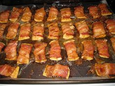 Bacon Wrapped Crackers  these things are amazing!! Ingredients:  club crackers  Bacon  Brown Sugar  Cut bacon in half, and wrap bacon around a cracker.  Place on cookie sheet with sides and lined with waxed paper.  Sprinkle w/brown sugar.  Bake at 275 for 45 minutes.