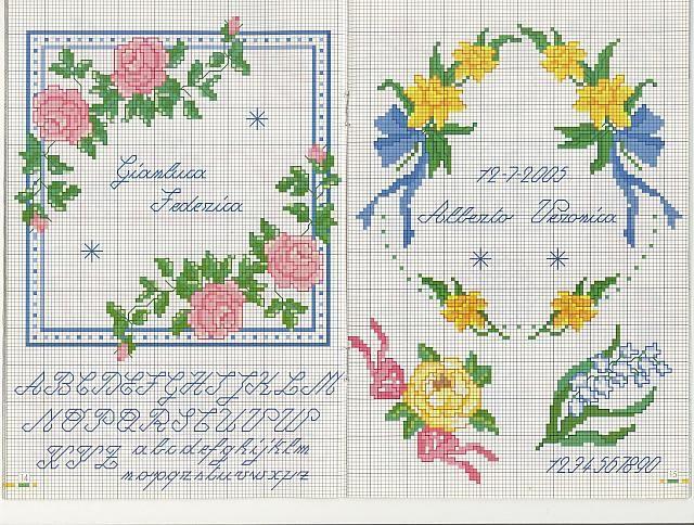 cuscino portafedi narcisi rose - magiedifilo.it punto croce uncinetto schemi gratis hobby creativi
