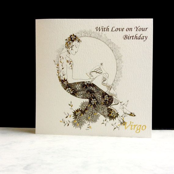 Birthday Card  Virgo sign by ImagePlusCards on Etsy