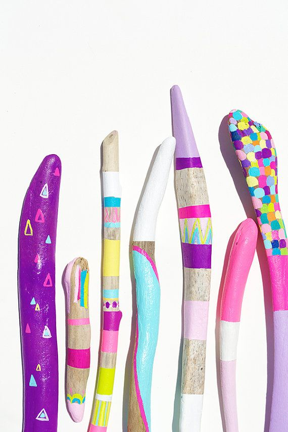 Neon Painted Sticks Collection for Home Decor  by bonjourfrenchie, $130.00