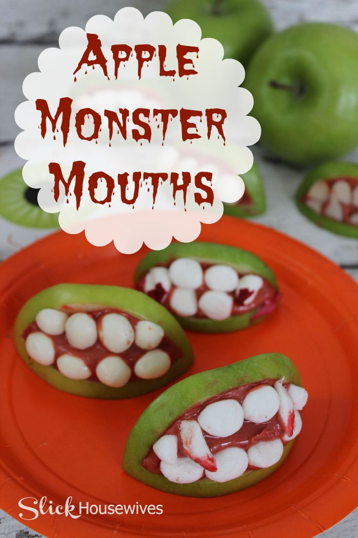 Apple Monster Mouths for Halloween @FarmRichSnacks  #smokehousebbq
