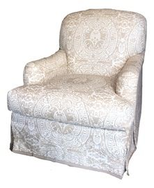 Charles Chair With Quadrille Fabric  Transitional, Upholstery  Fabric, Club…