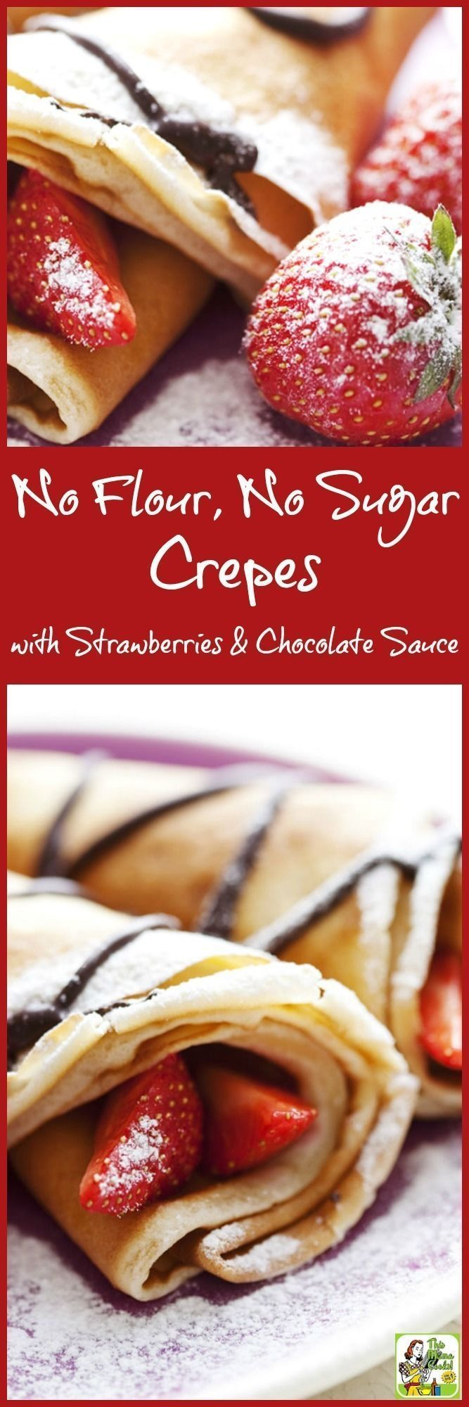 Looking for a gluten free crepe recipe? Try this easy No Flour, No Sugar Crepes with Strawberries & Chocolate Sauce. It's the perfect healthy crepe recipe for Valentine's Day or Mother's Day. It's also a paleo crepe recipe with a few substitutions.