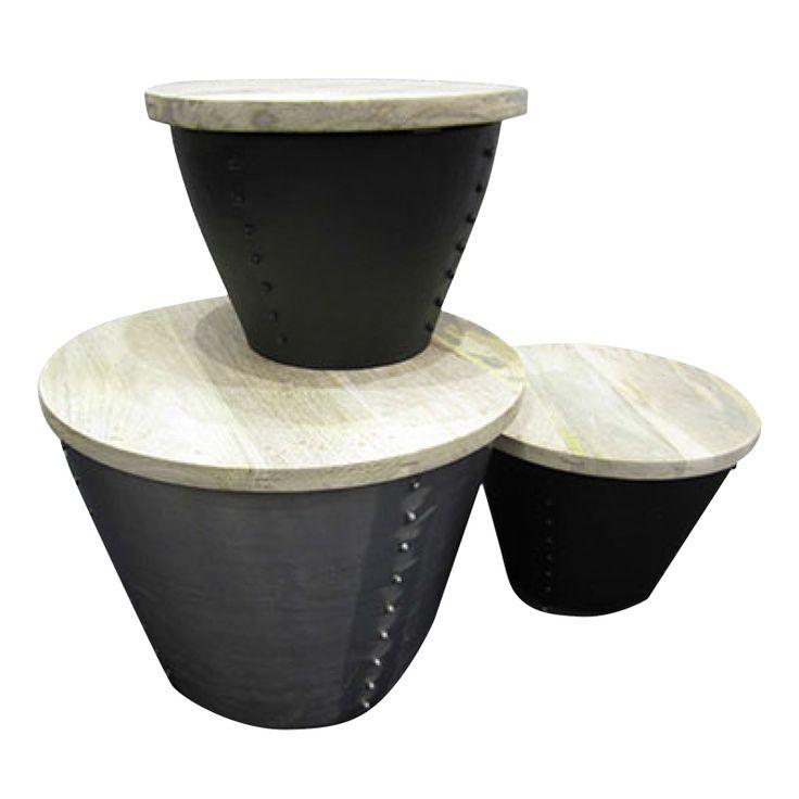 Bord med oppbevaringmuligheter i aluminium og resirkulert tre. Drum Table finnes i 2 str. For mer info og bestilling: www.krogh-design.no