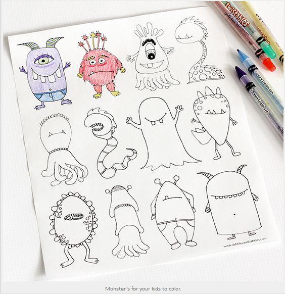 Disegni da colorare per bambini con mostri - Pagina da stampare