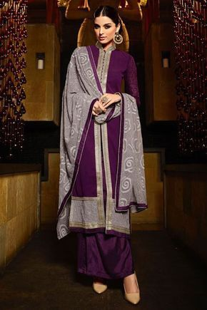 Online Shopping of Alluring Purple Color Georgette Palazzo Suit from SareesBazaar, leading online ethnic clothing store  offering  latest collection of sarees, salwar suits, lehengas & kurtis