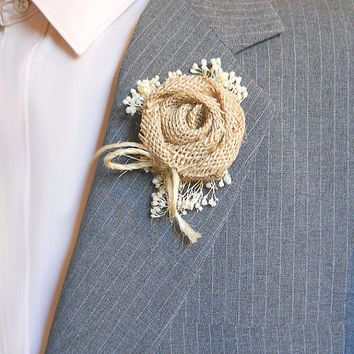 Country Burlap Rose Boutonniere, Groom and Groomsmen Boutonniere, Rustic, Country, Woodland Style Weddings. Made to Order.