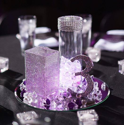 Elegant lavender crystal vases and shimmering glittered