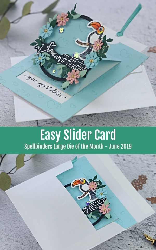 3-minute Slider Card with Spellbinders Large die of the month - June